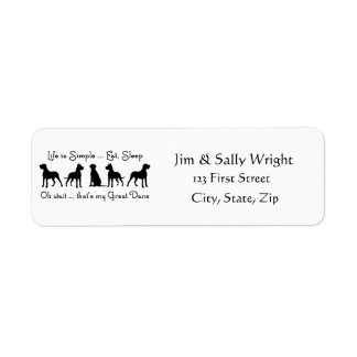Life is Simple Eat Sleep Great Dane Humour Quote Label