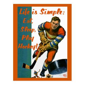 Life is Simple Eat Sleep Play Hockey Postcard