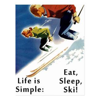 Life is Simple Eat Sleep Ski Postcard