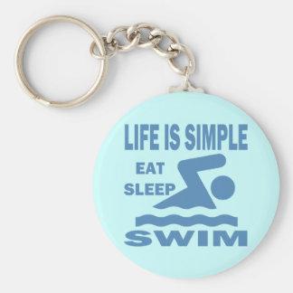 Life is Simple, Eat Sleep Swim Keychain
