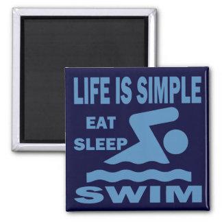 Life is Simple, Eat Sleep Swim Magnet