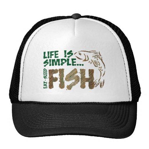 Life is Simple Fish Trucker Hats