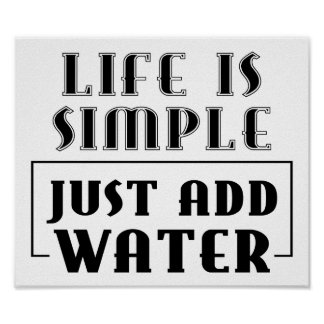 LIFE IS SIMPLE JUST ADD WATER MOTTO SURFERS SURF S POSTER