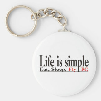 Life is Simple Basic Round Button Keychain