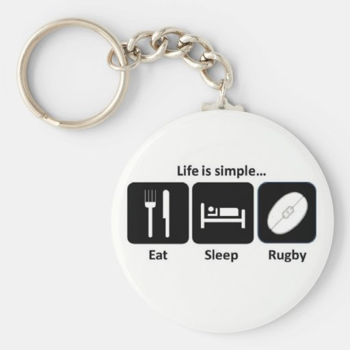 Life is simple Rugby Key Chain