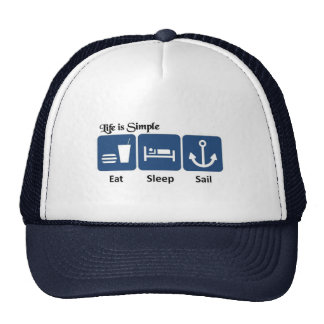 Life is simple, sail trucker hat