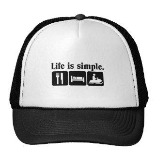 Life is simple, snowmobiling trucker hats