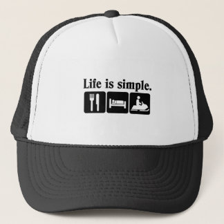 Life is simple, snowmobiling trucker hat