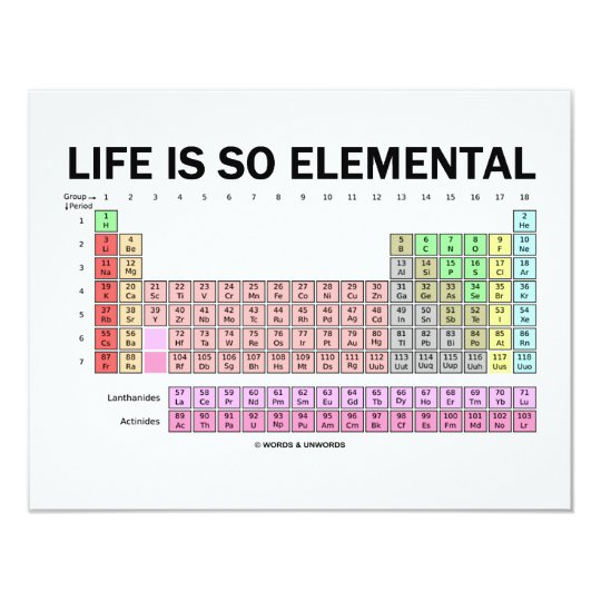 Life Is So Elemental (Periodic Table Of Elements) Card