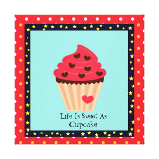 Life Is Sweet Aa Cupcake Canvas