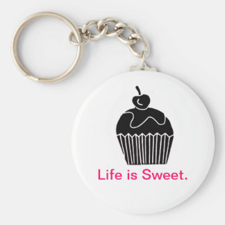 Life is Sweet Basic Round Button Keychain