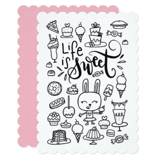 Life is Sweet Coloring Page, Color Me Flat Card