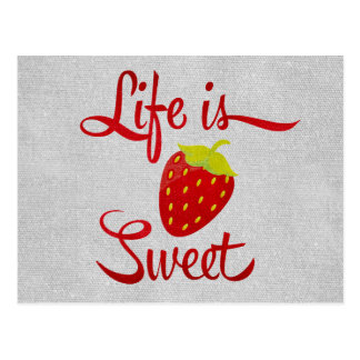 Life is Sweet Strawberry Postcard
