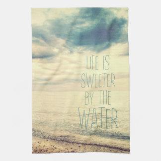 Life Is Sweeter Beach Scene Hand Towels