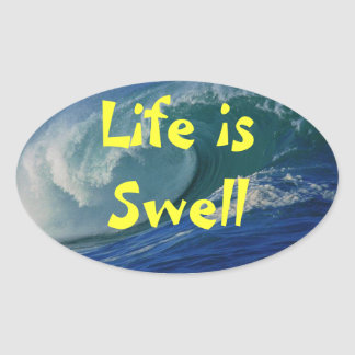 life is swell oval sticker