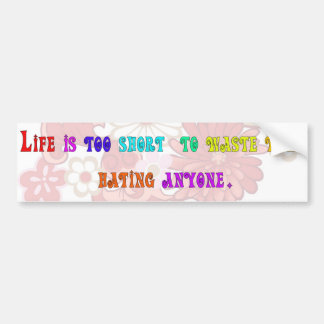 Life is too short to waste time hating anyone. bumper sticker