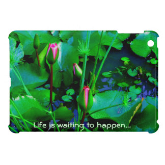 Life is waiting to happen with lilies in the pond iPad mini cover