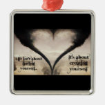 Life Isn't About Finding Yourself Heart Tornado Square Metal Christmas Ornament