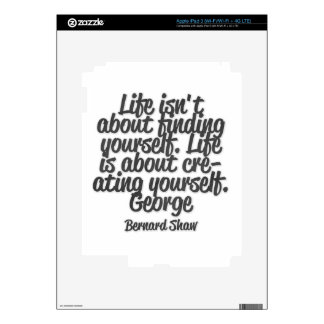 Life isn't about finding yourself. Life is about.. Decal For iPad 3