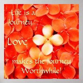 Life Journey Quote Tangerine Orange Blossoms Poster