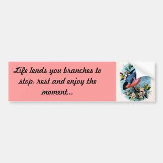 Life lends You Branches - Retro Bird on a Branch Bumper Sticker