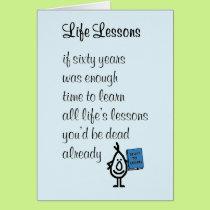 Life Lessons - a funny sixtieth birthday poem Card