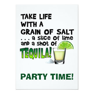 Life, Lime, Salt, TEQUILA! Cocktail Humor 5.5x7.5 Paper Invitation Card