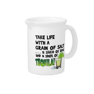 Life, Lime, Salt, TEQUILA! Cocktail Humor Beverage Pitcher