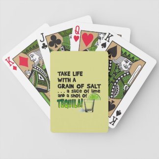 Life, Lime, Salt, TEQUILA! Cocktail Humor Bicycle Playing Cards