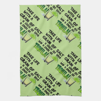 Life, Lime, Salt, TEQUILA! Cocktail Humor Kitchen Towel