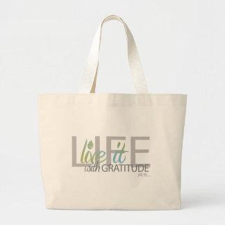 LIFE live it with gratitude Canvas Bag