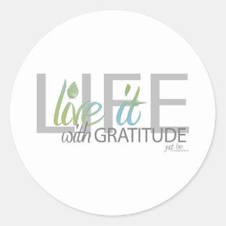 LIFE live it with gratitude Classic Round Sticker