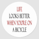 Life Looks Better When You're On A Bicycle Round Stickers