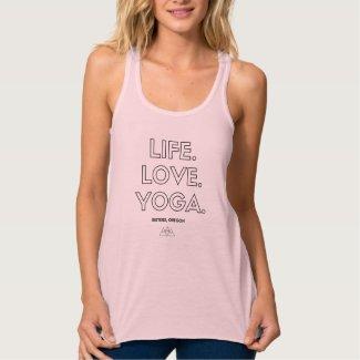 Life.Love.Yoga. Sisters, OR Womens Flowy Tank
