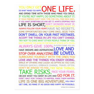 Life Manifesto Color Poster Postcard