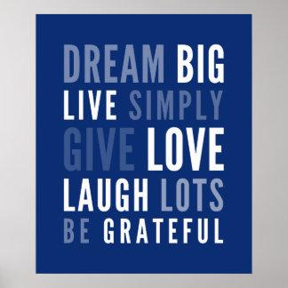 LIFE MANTRA positive modern typography dark blue Poster