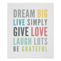 LIFE MANTRA QUOTE positive typography pastel color Poster