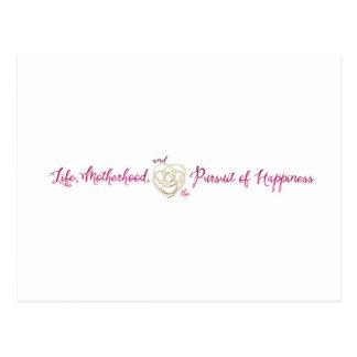 Life, Motherhood, Happiness logo Postcard