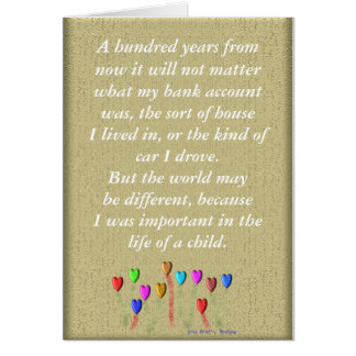 Life of a child card