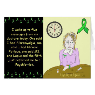 Life of a Lymie Lyme Disease Sick Lady Cartoon Card