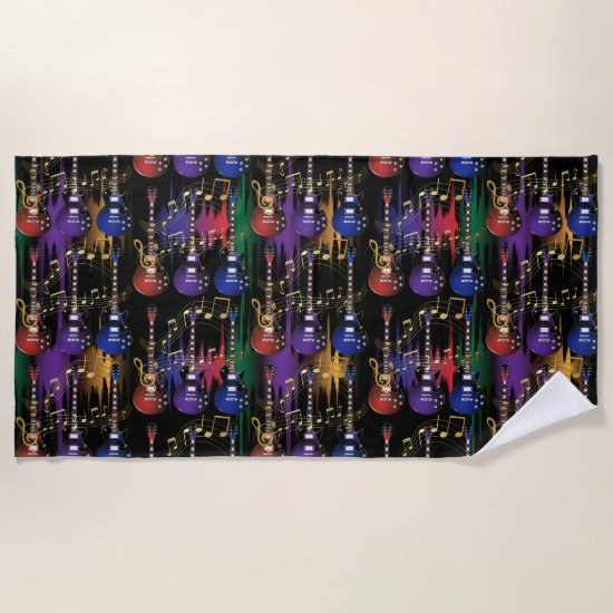 Life of Music -  Guitar Beach Towel
