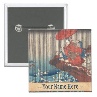 Life of Nichiren Prayer for Rain Answered Utagawa Buttons