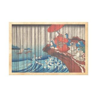 Life of Nichiren  Prayer for Rain Answered Utagawa Canvas Print