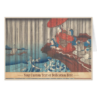 Life of Nichiren  Prayer for Rain Answered Utagawa Card