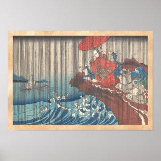 Life of Nichiren  Prayer for Rain Answered Utagawa Print
