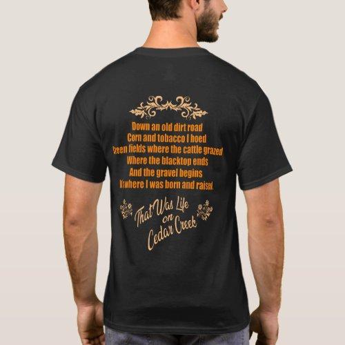 Life On Cedar Creek Orange Lettering Shirt Design