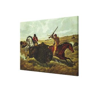 Life on the Prairie - the Buffalo Hunt, 1862 Canvas Print