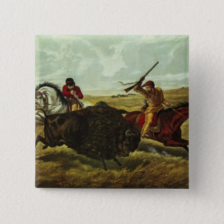 Life on the Prairie - the Buffalo Hunt, 1862 Pinback Button