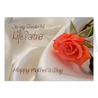 Life partner, a Mother's day card with a pink rose