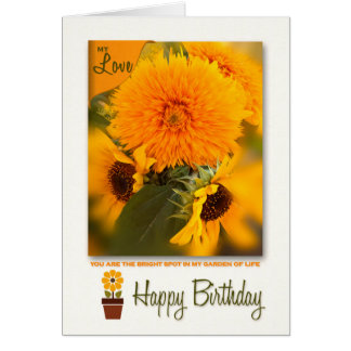 Life Partner Birthday | Golden Daisies Bouquet Card